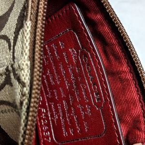 Coach Bags - Coach wristlet tan lettering red leather st